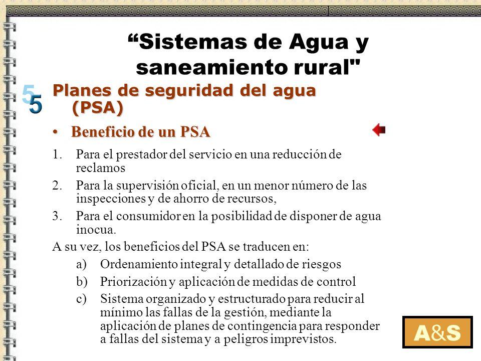 A&SA&S Planes de seguridad del agua (PSA) Implementando un PSA en un sistema rural de abastecimiento de agua Los sistemas pequeños de abastecimiento de agua y más en el medio rural son los más vulnerables para la contaminación del agua y con mayor facilidad salen de operación.