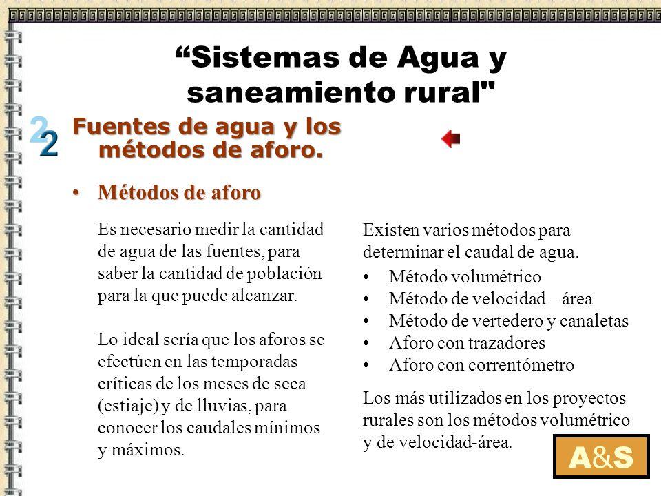 Métodos de aforoMétodos de aforo Es necesario medir la cantidad de agua de las fuentes, para saber la cantidad de población para la que puede alcanzar