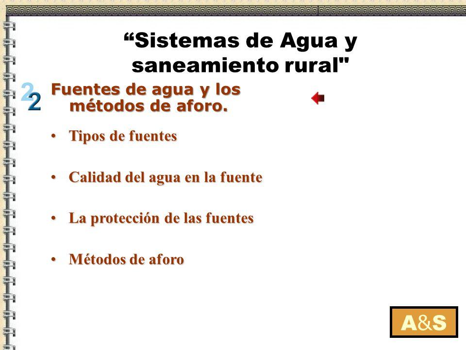 Tipos de fuentesTipos de fuentes Antes de utilizarla se debe hacer su análisis físico-químico y bacteriológico.