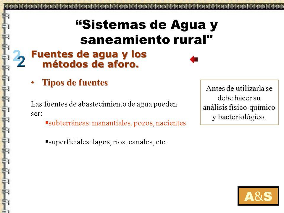 Tipos de fuentesTipos de fuentes Antes de utilizarla se debe hacer su análisis físico-químico y bacteriológico. Las fuentes de abastecimiento de agua