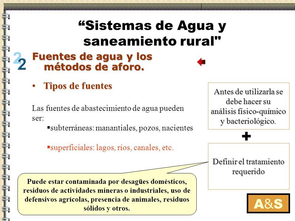 Tipos de fuentesTipos de fuentes Definir el tratamiento requerido Las fuentes de abastecimiento de agua pueden ser: subterráneas: manantiales, pozos,