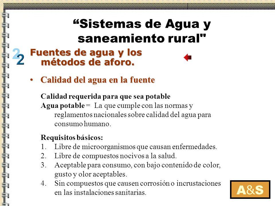 Tipos de fuentesTipos de fuentes Calidad del agua en la fuenteCalidad del agua en la fuente La protección de las fuentesLa protección de las fuentes Métodos de aforoMétodos de aforo A&SA&S Fuentes de agua y los métodos de aforo.