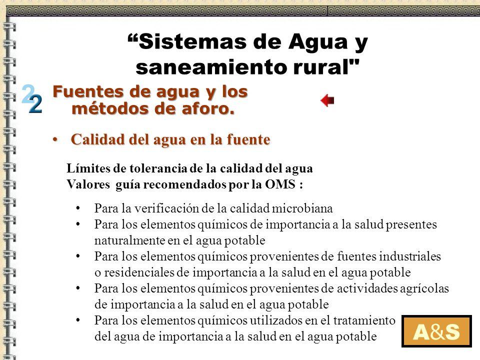 Calidad del agua en la fuenteCalidad del agua en la fuente Límites de tolerancia de la calidad del agua Valores guía recomendados por la OMS : Para la