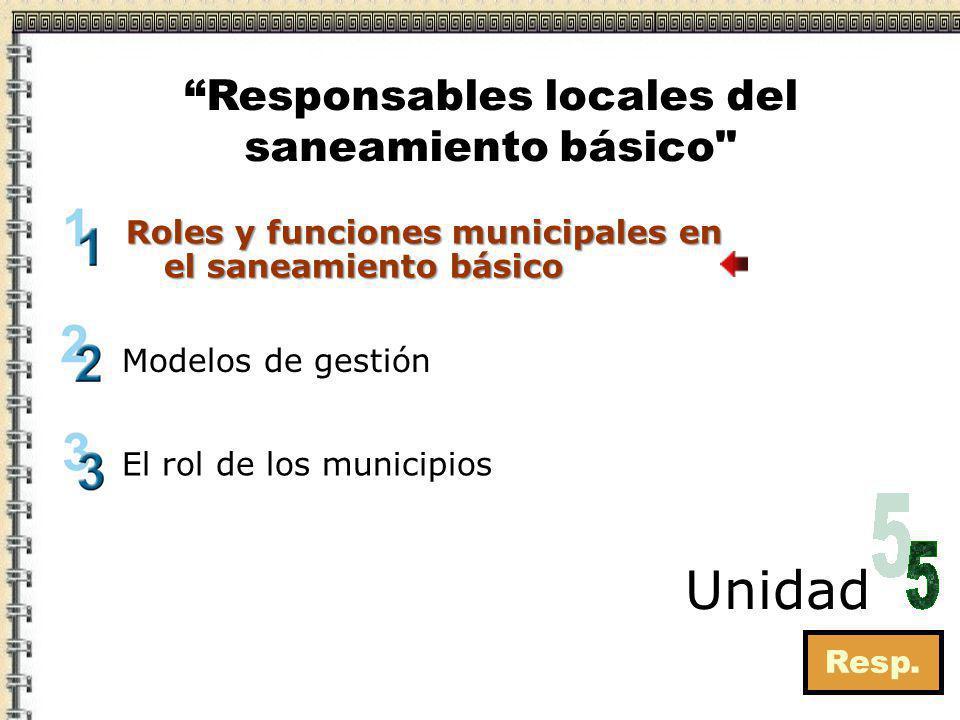 Roles y funciones municipales en el saneamiento básico Resp. Modelos de gestión Unidad Responsables locales del saneamiento básico