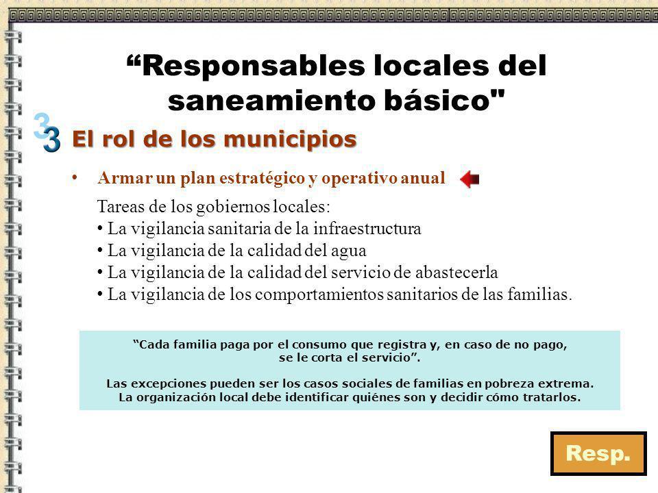 El rol de los municipios Tareas de los gobiernos locales: La vigilancia sanitaria de la infraestructura La vigilancia de la calidad del agua La vigila