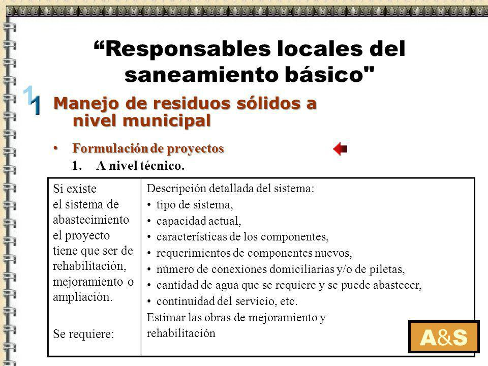 Formulación de proyectos Formulación de proyectos A&SA&S Manejo de residuos sólidos a nivel municipal Responsables locales del saneamiento básico 2.A nivel ambiental.