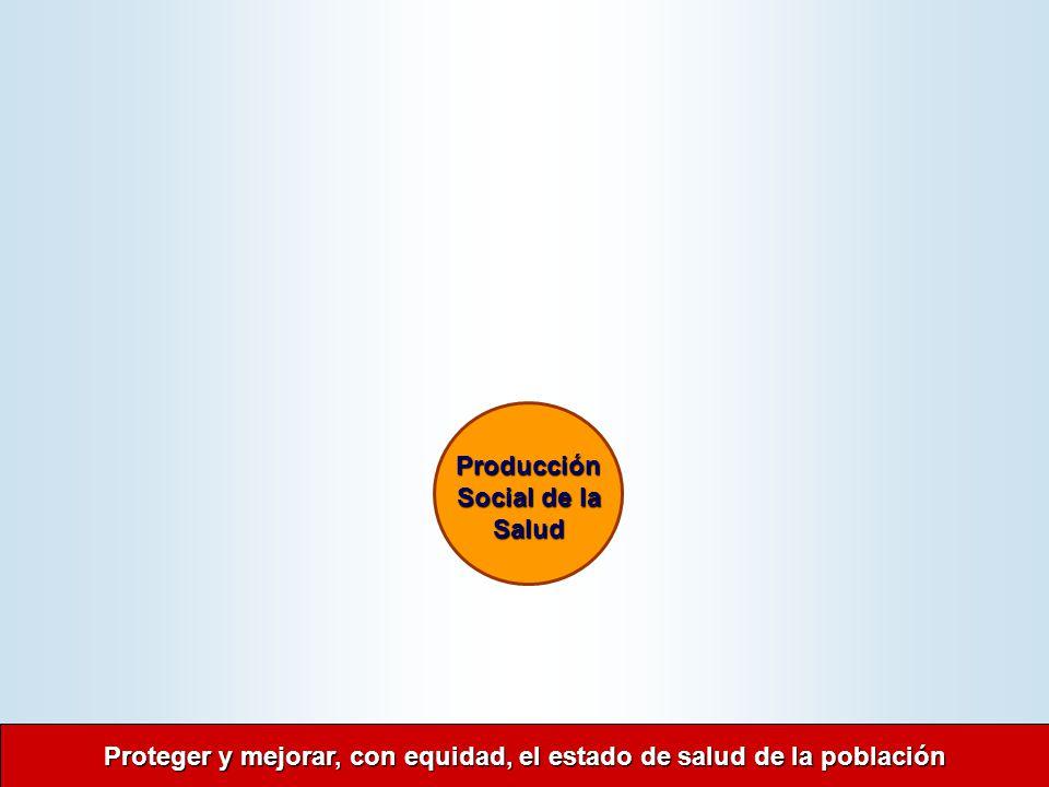 Proteger y mejorar, con equidad, el estado de salud de la población Proteger y mejorar, con equidad, el estado de salud de la población Producción Social de la Salud Producción Social de la Salud