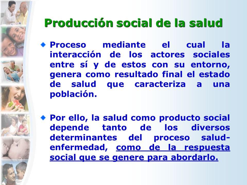 Producción social de la salud Proceso mediante el cual la interacción de los actores sociales entre sí y de estos con su entorno, genera como resultado final el estado de salud que caracteriza a una población.