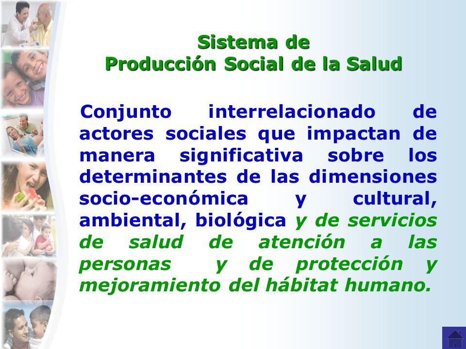 Sistema de Producción Social de la Salud Conjunto interrelacionado de actores sociales que impactan de manera significativa sobre los determinantes de las dimensiones socio-económica y cultural, ambiental, biológica y de servicios de salud de atención a las personas y de protección y mejoramiento del hábitat humano.