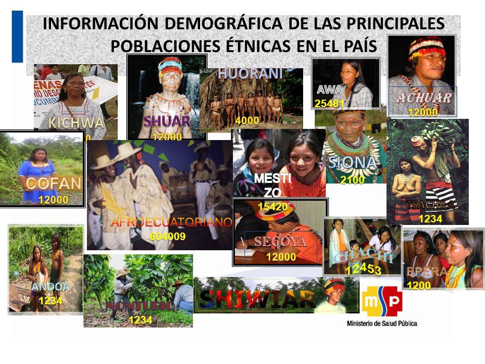 INFORMACIÓN DEMOGRÁFICA DE LAS PRINCIPALES POBLACIONES ÉTNICAS EN EL PAÍS