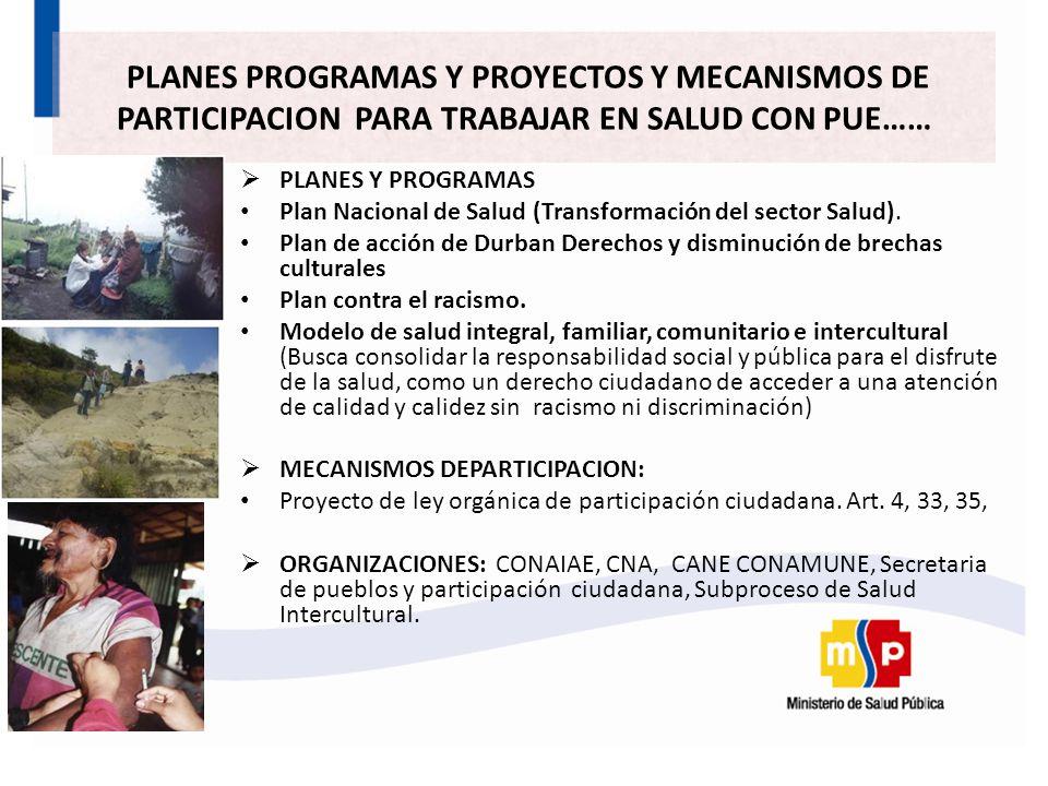 PLANES Y PROGRAMAS Plan Nacional de Salud (Transformación del sector Salud).