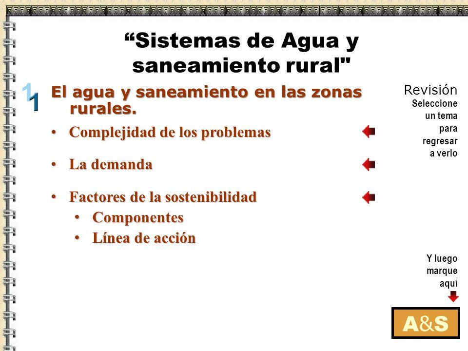 Y luego marque aquí Revisión Seleccione un tema para regresar a verlo A&SA&S Complejidad de los problemasComplejidad de los problemas La demandaLa demanda Factores de la sostenibilidad Factores de la sostenibilidad Componentes Componentes Línea de acción Línea de acción El agua y saneamiento en las zonas rurales.
