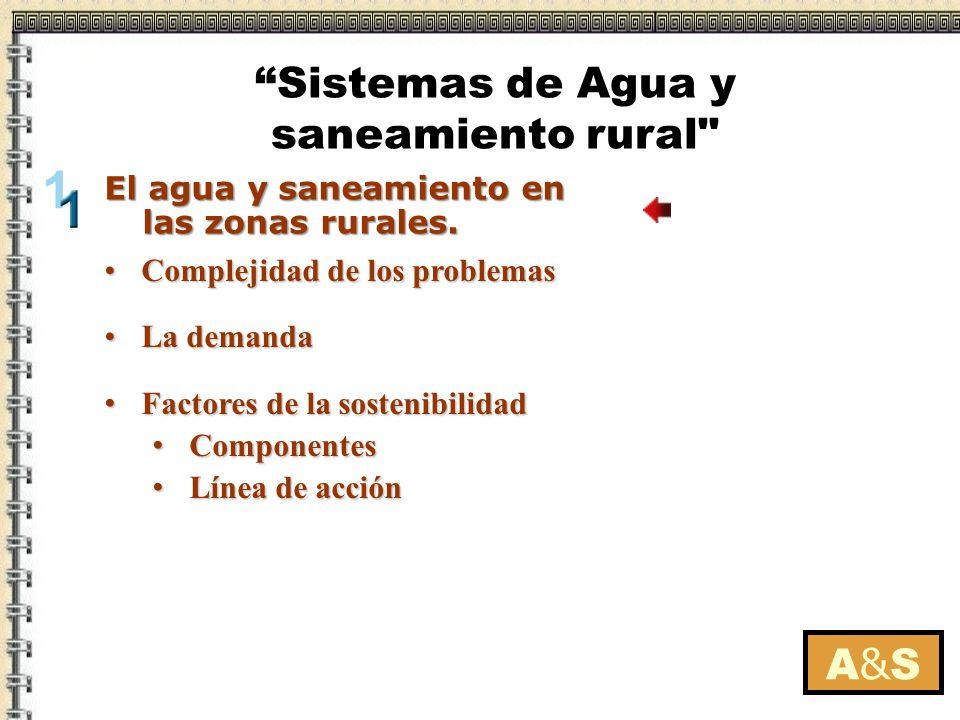 Complejidad de los problemasComplejidad de los problemas La demandaLa demanda Factores de la sostenibilidad Factores de la sostenibilidad Componentes Componentes Línea de acción Línea de acción A&SA&S El agua y saneamiento en las zonas rurales.
