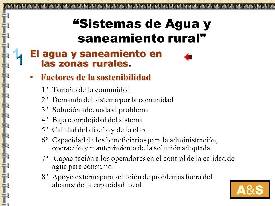 Factores de la sostenibilidad Factores de la sostenibilidad A&SA&S 1º Tamaño de la comunidad. 2º Demanda del sistema por la comunidad. 3º Solución ade