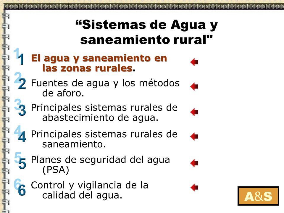 A&SA&S El agua y saneamiento en las zonas rurales El agua y saneamiento en las zonas rurales. Fuentes de agua y los métodos de aforo. Principales sist