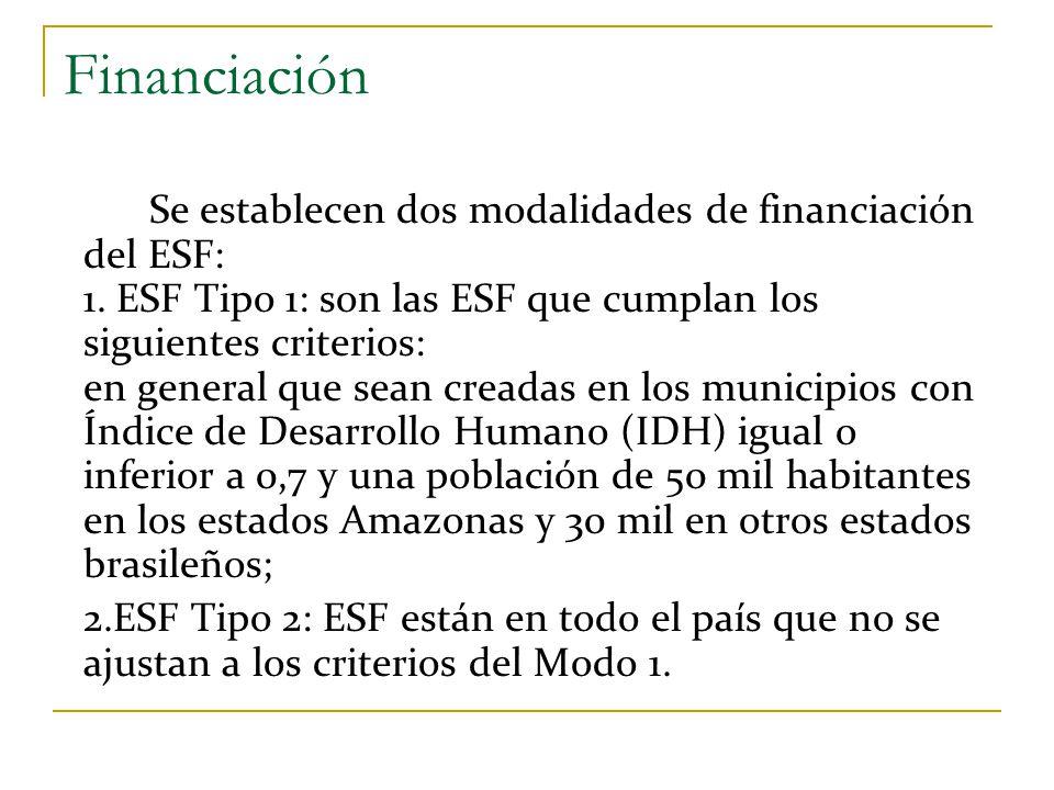 Financiación Se establecen dos modalidades de financiación del ESF: 1. ESF Tipo 1: son las ESF que cumplan los siguientes criterios: en general que se