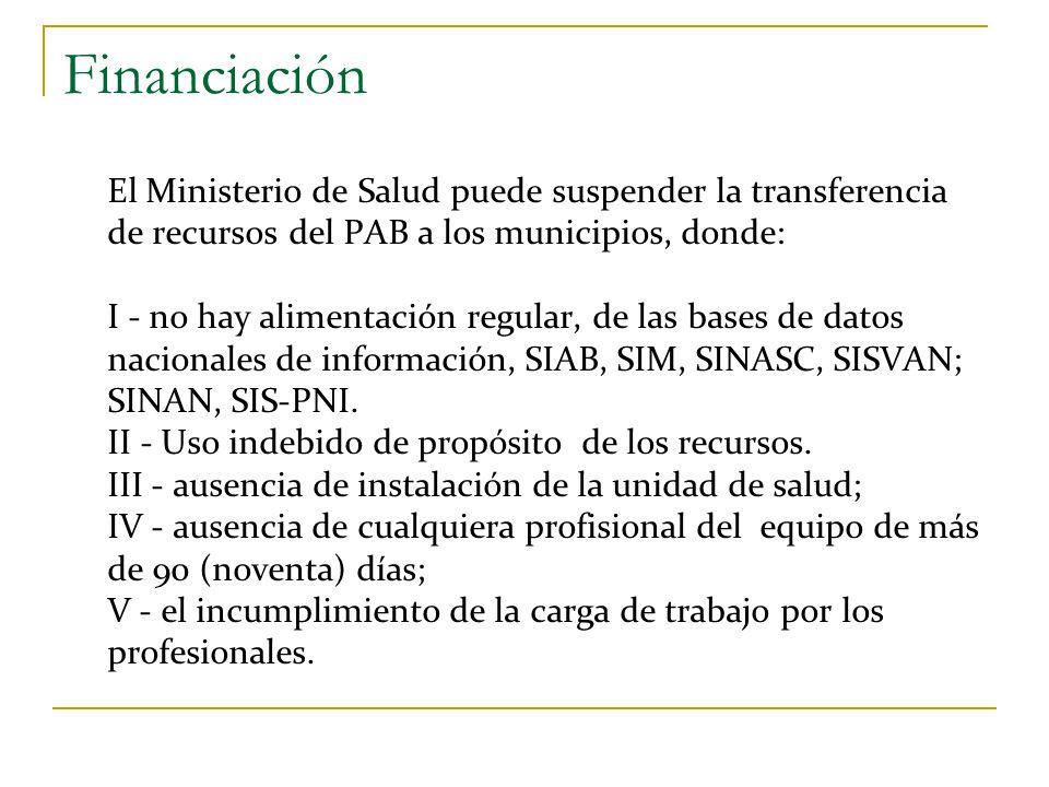 Financiación El Ministerio de Salud puede suspender la transferencia de recursos del PAB a los municipios, donde: I - no hay alimentación regular, de