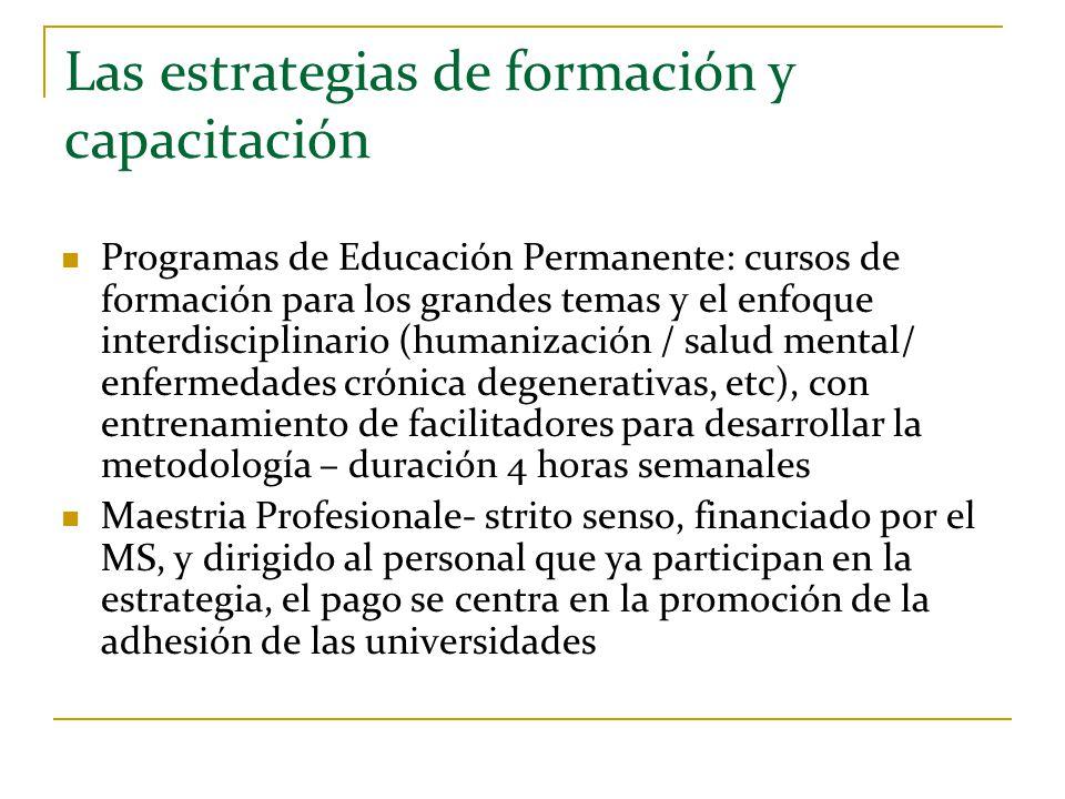 Las estrategias de formación y capacitación Programas de Educación Permanente: cursos de formación para los grandes temas y el enfoque interdisciplina