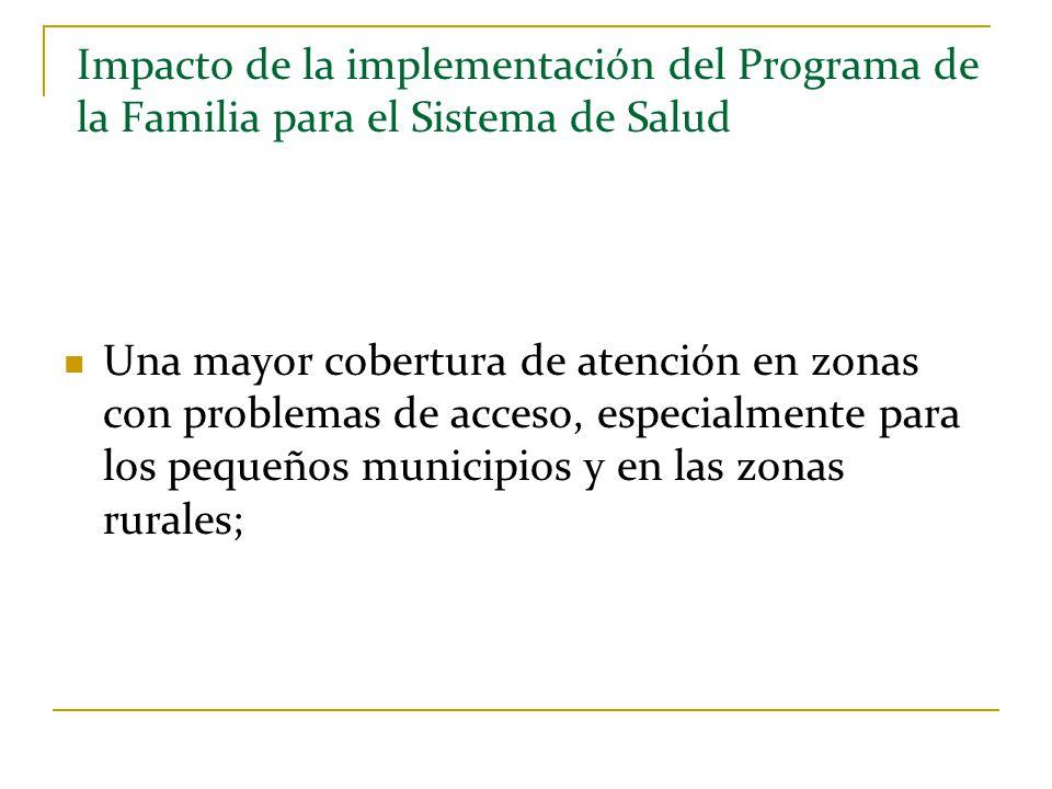 Impacto de la implementación del Programa de la Familia para el Sistema de Salud Una mayor cobertura de atención en zonas con problemas de acceso, esp