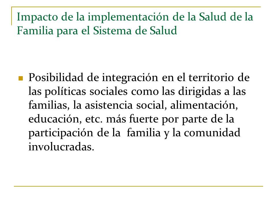 Impacto de la implementación de la Salud de la Familia para el Sistema de Salud Posibilidad de integración en el territorio de las políticas sociales