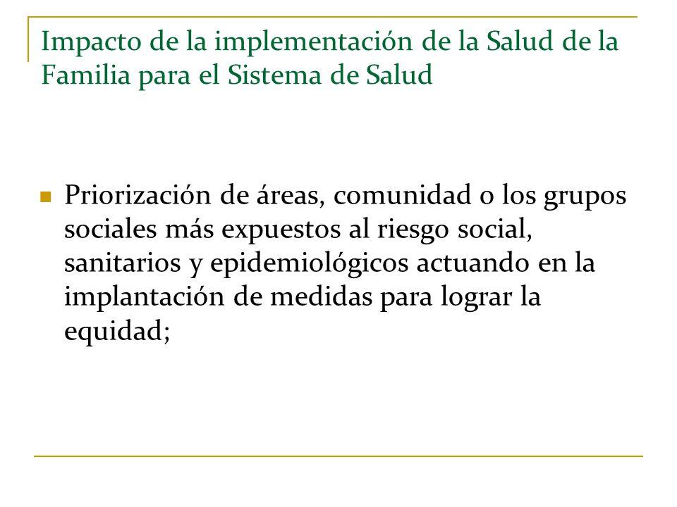 Impacto de la implementación de la Salud de la Familia para el Sistema de Salud Priorización de áreas, comunidad o los grupos sociales más expuestos a