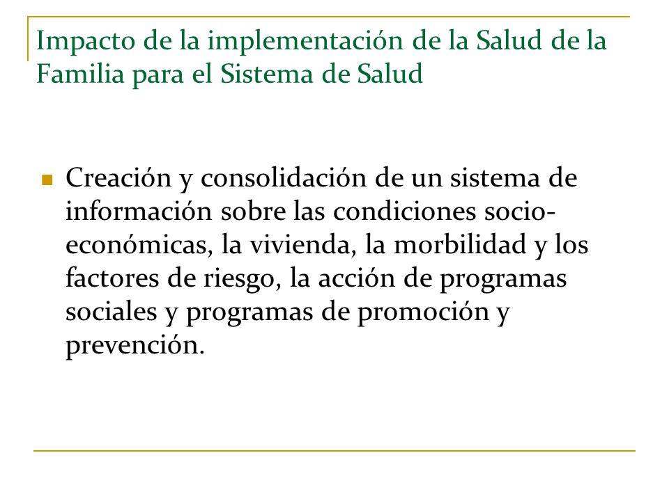 Impacto de la implementación de la Salud de la Familia para el Sistema de Salud Creación y consolidación de un sistema de información sobre las condic