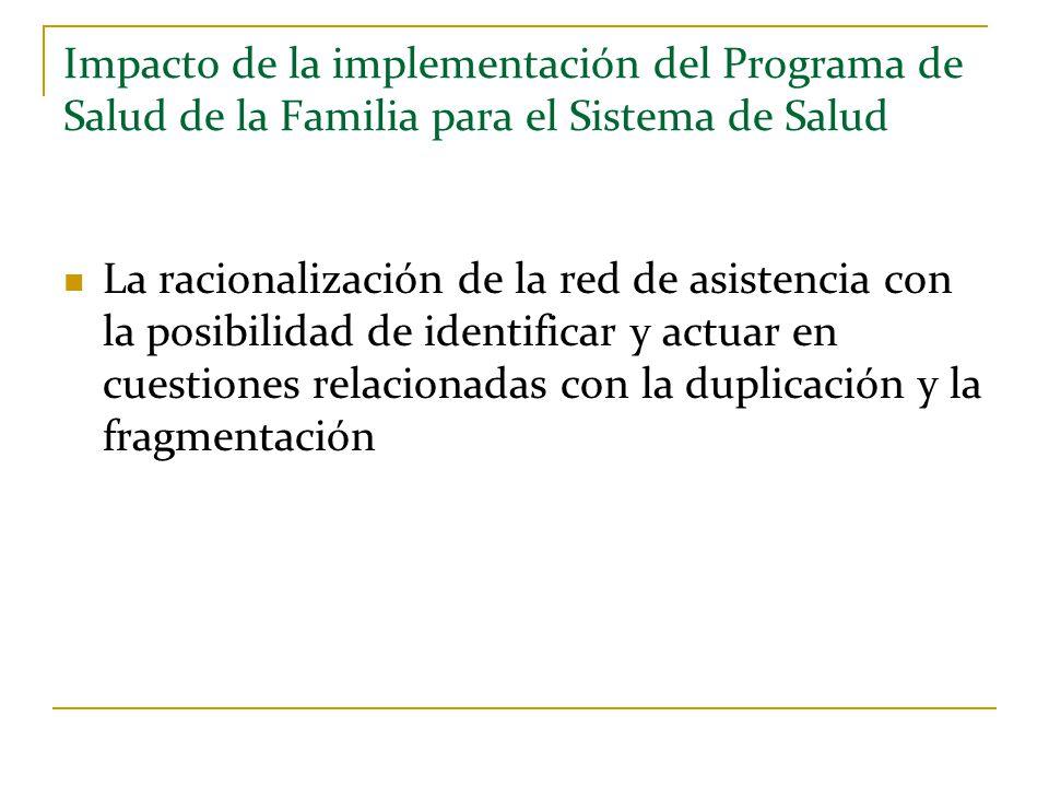 Impacto de la implementación del Programa de Salud de la Familia para el Sistema de Salud La racionalización de la red de asistencia con la posibilida