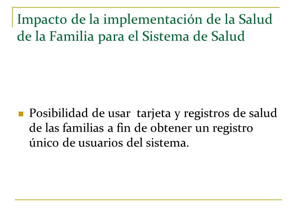 Impacto de la implementación de la Salud de la Familia para el Sistema de Salud Posibilidad de usar tarjeta y registros de salud de las familias a fin