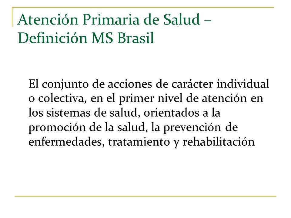 Atención Primaria de Salud – Definición MS Brasil El conjunto de acciones de carácter individual o colectiva, en el primer nivel de atención en los si
