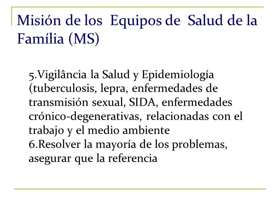 Misión de los Equipos de Salud de la Família (MS) 5.Vigilância la Salud y Epidemiología (tuberculosis, lepra, enfermedades de transmisión sexual, SIDA