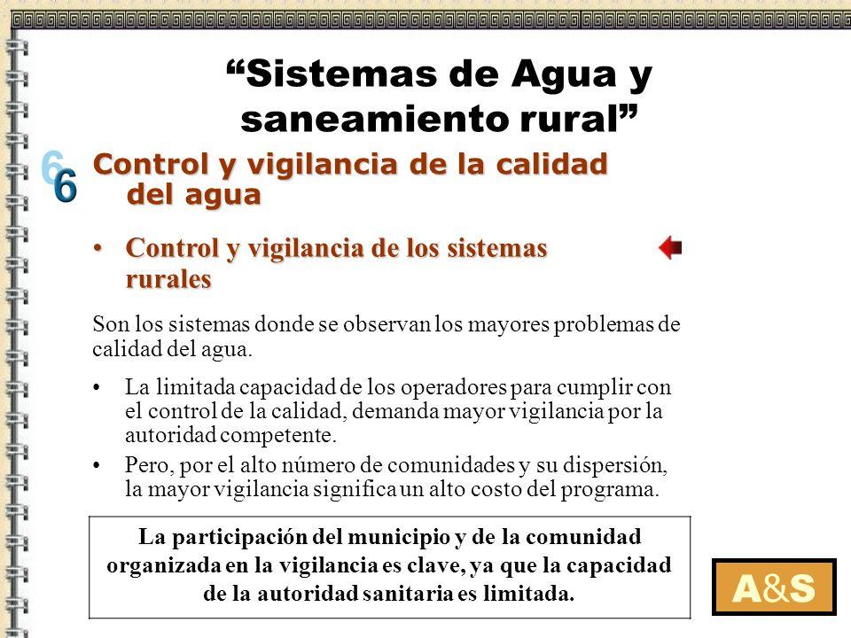 A&SA&S Son los sistemas donde se observan los mayores problemas de calidad del agua. La participación del municipio y de la comunidad organizada en la