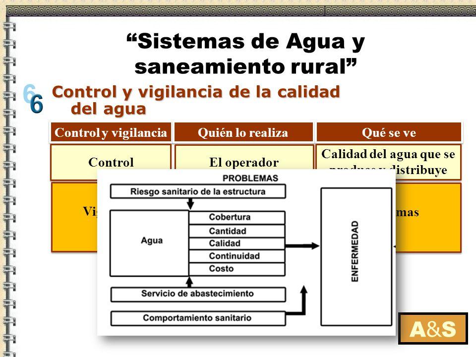 A&SA&S Control y vigilancia de la calidad del agua Control y vigilancia Quién lo realiza Qué se ve Instituciones externas: Autoridad sanitaria Municip