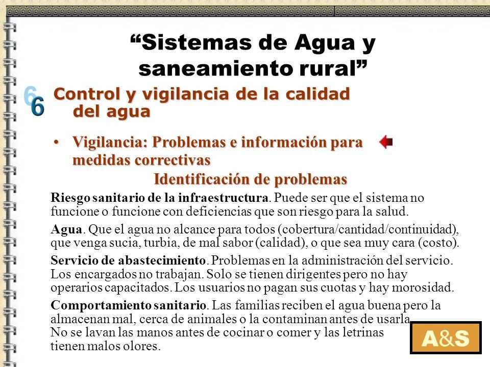 A&SA&S Riesgo sanitario de la infraestructura. Puede ser que el sistema no funcione o funcione con deficiencias que son riesgo para la salud. Agua. Qu