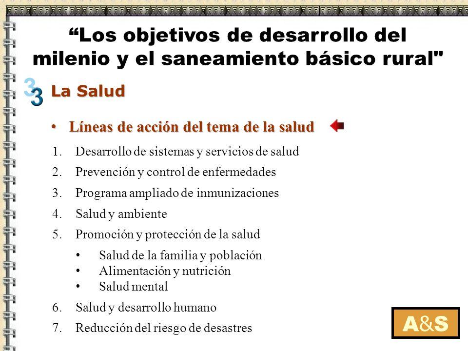 Líneas de acción del tema de la salud Líneas de acción del tema de la salud A&SA&S 1.Desarrollo de sistemas y servicios de salud 2.Prevención y contro