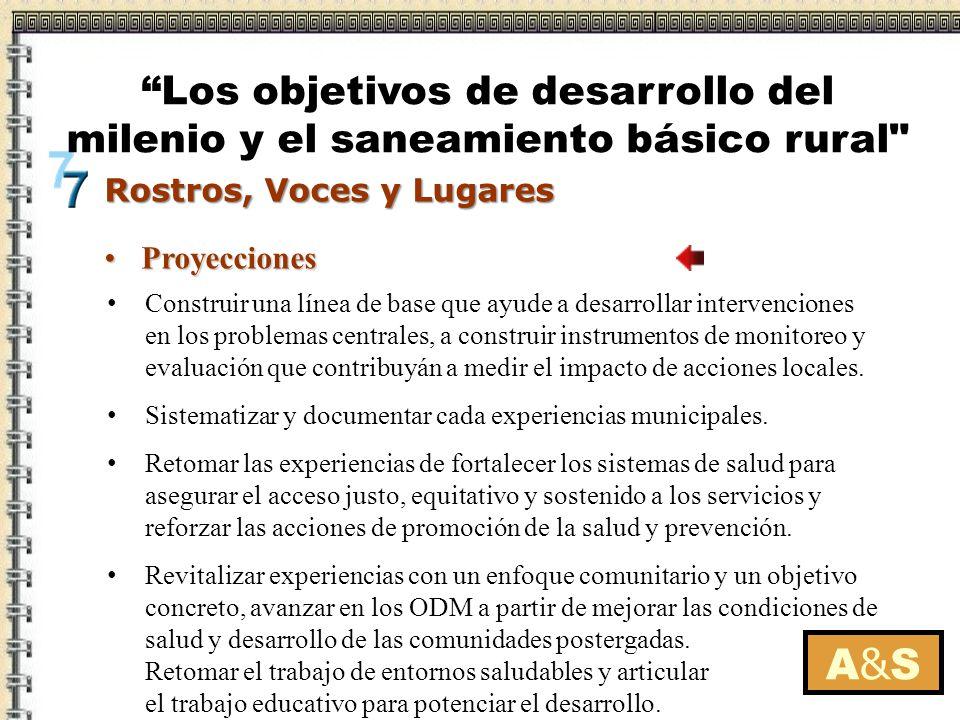 ProyeccionesProyecciones A&SA&S Construir una línea de base que ayude a desarrollar intervenciones en los problemas centrales, a construir instrumento