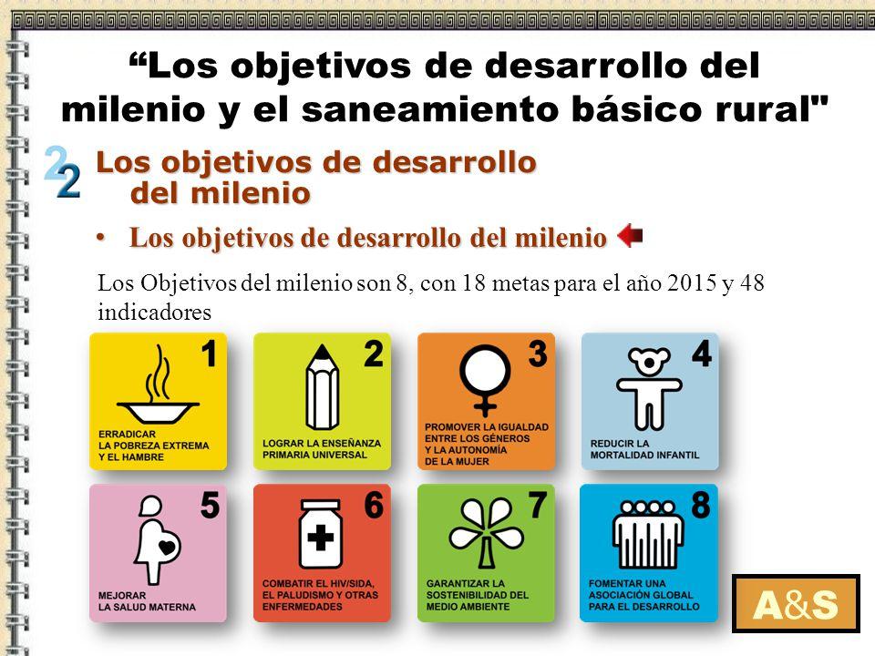Los objetivos de desarrollo del milenio Los objetivos de desarrollo del milenio A&SA&S Los Objetivos del milenio son 8, con 18 metas para el año 2015