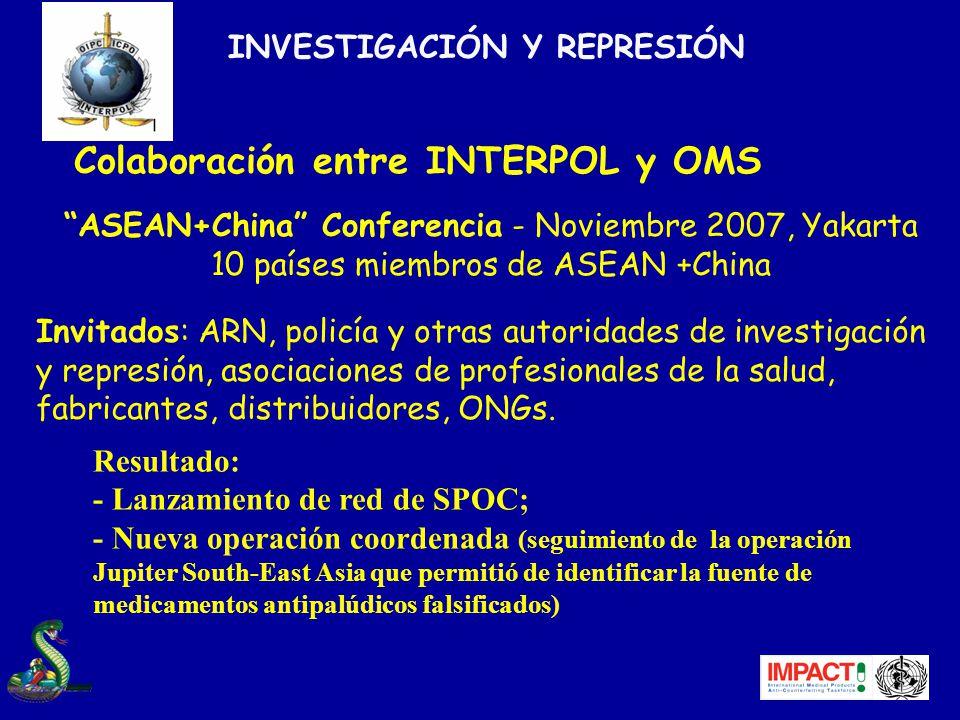 Colaboración entre INTERPOL y OMS ASEAN+China Conferencia - Noviembre 2007, Yakarta 10 países miembros de ASEAN +China Invitados: ARN, policía y otras autoridades de investigación y represión, asociaciones de profesionales de la salud, fabricantes, distribuidores, ONGs.