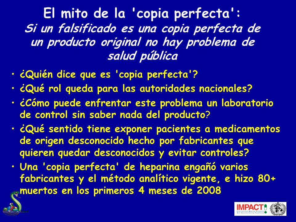 El mito de la copia perfecta : Si un falsificado es una copia perfecta de un producto original no hay problema de salud pública ¿Quién dice que es copia perfecta .