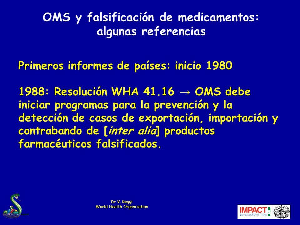 Primeros informes de países: inicio 1980 1988: Resolución WHA 41.16 OMS debe iniciar programas para la prevención y la detección de casos de exportación, importación y contrabando de [inter alia] productos farmacéuticos falsificados.