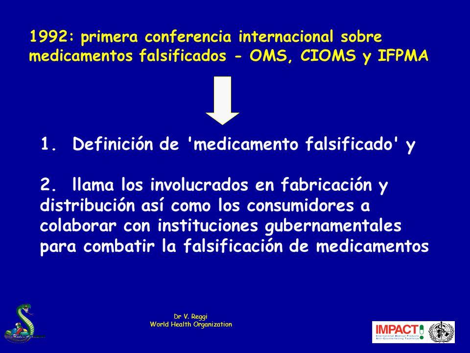 1.Definición de medicamento falsificado y 2.