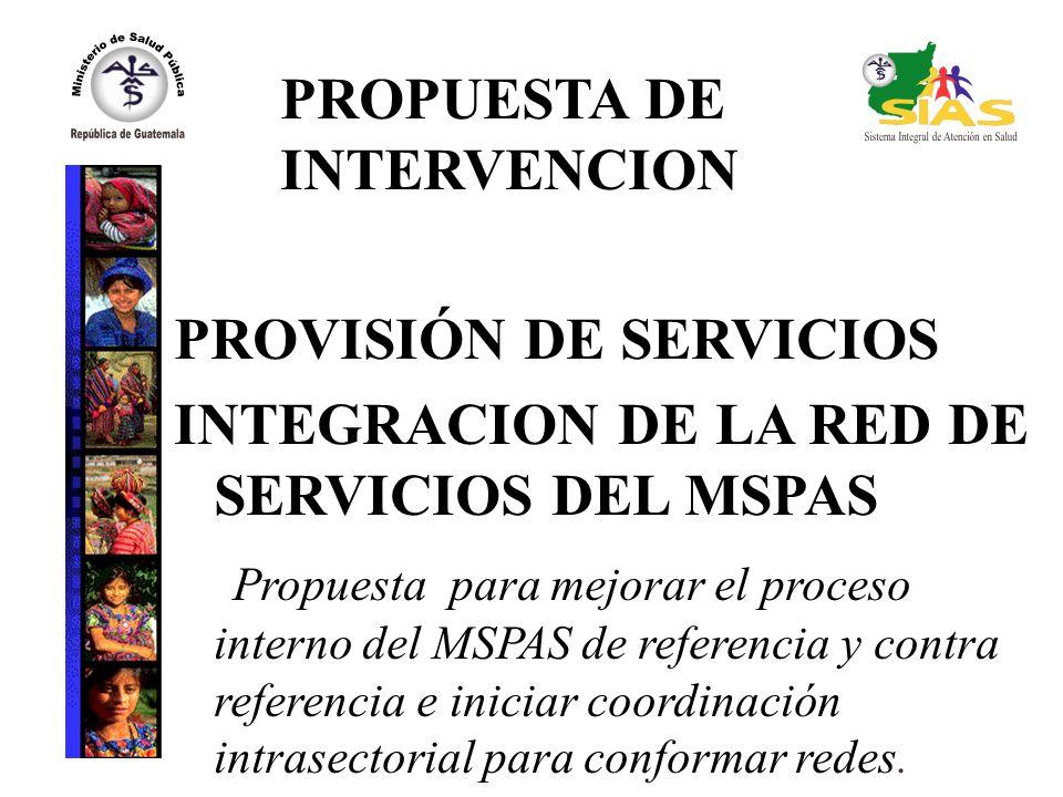 PROPUESTA DE INTERVENCION PROVISIÓN DE SERVICIOS INTEGRACION DE LA RED DE SERVICIOS DEL MSPAS Propuesta para mejorar el proceso interno del MSPAS de referencia y contra referencia e iniciar coordinación intrasectorial para conformar redes.