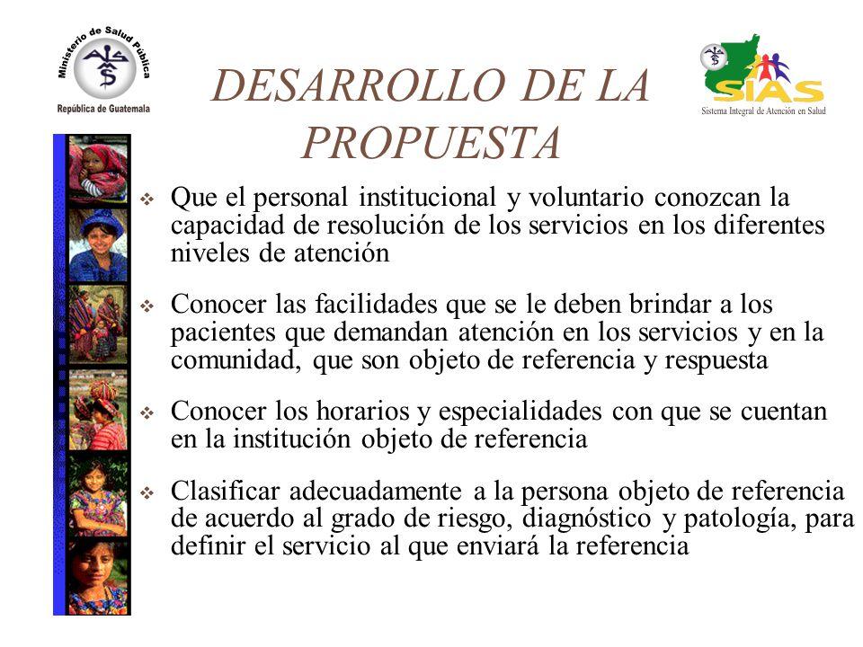 DESARROLLO DE LA PROPUESTA Que el personal institucional y voluntario conozcan la capacidad de resolución de los servicios en los diferentes niveles d