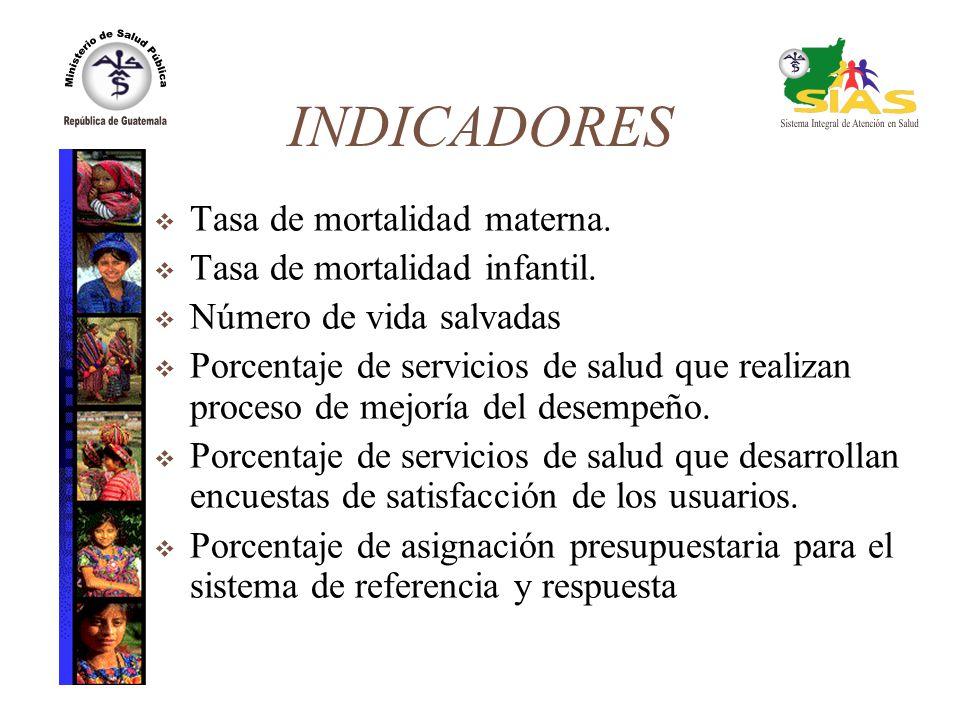 INDICADORES Tasa de mortalidad materna. Tasa de mortalidad infantil. Número de vida salvadas Porcentaje de servicios de salud que realizan proceso de