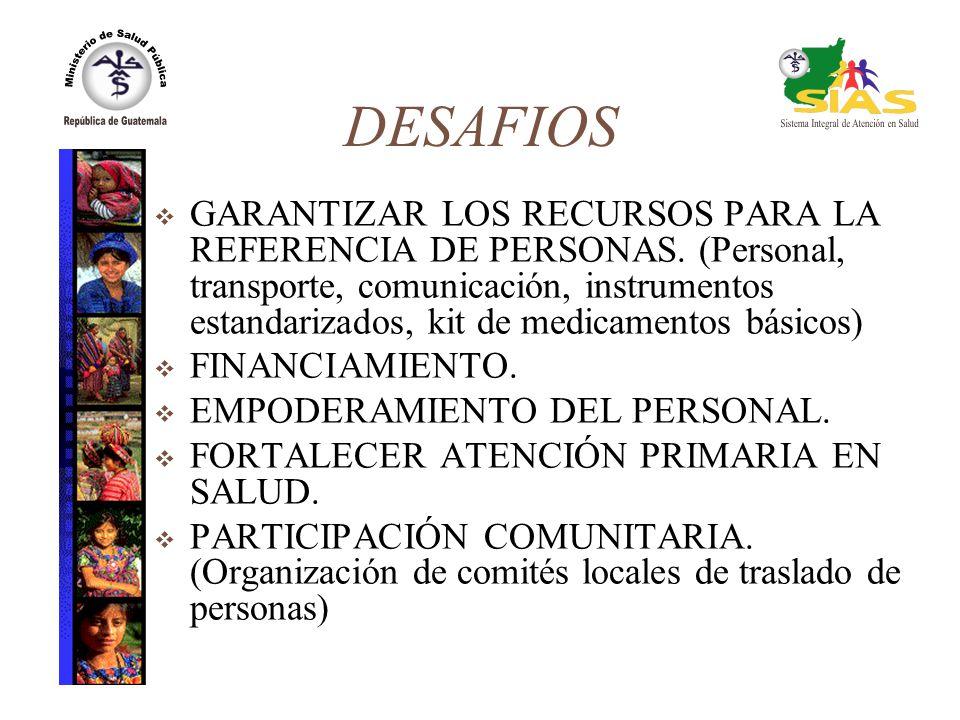 DESAFIOS GARANTIZAR LOS RECURSOS PARA LA REFERENCIA DE PERSONAS. (Personal, transporte, comunicación, instrumentos estandarizados, kit de medicamentos