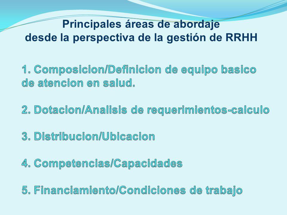 Principales áreas de abordaje desde la perspectiva de la gestión de RRHH