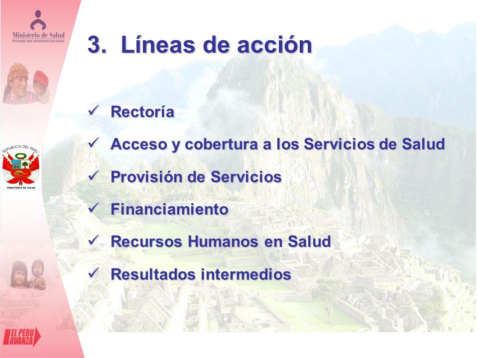 3. Líneas de acción Rectoría Rectoría Acceso y cobertura a los Servicios de Salud Acceso y cobertura a los Servicios de Salud Provisión de Servicios P