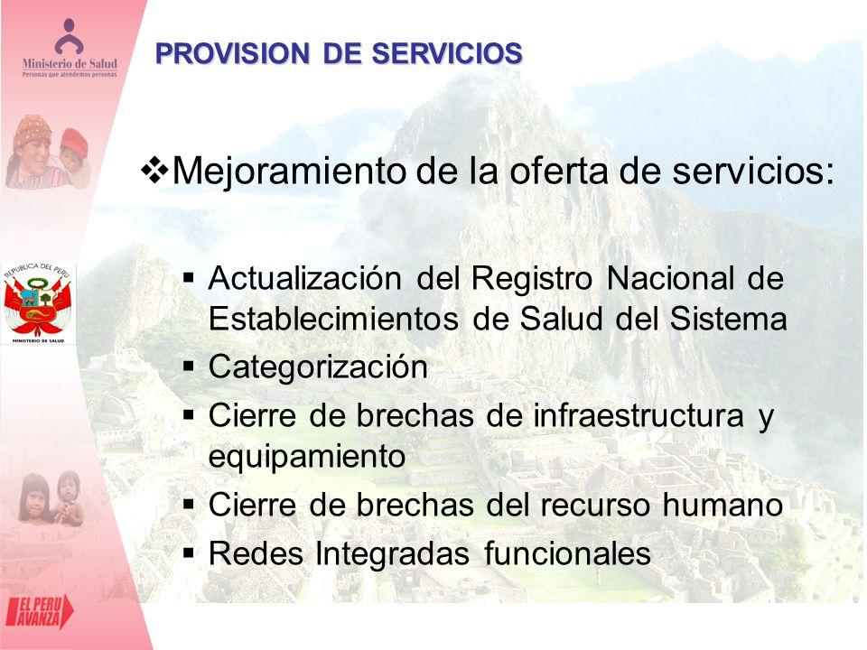 PROVISION DE SERVICIOS Mejoramiento de la oferta de servicios: Actualización del Registro Nacional de Establecimientos de Salud del Sistema Categoriza