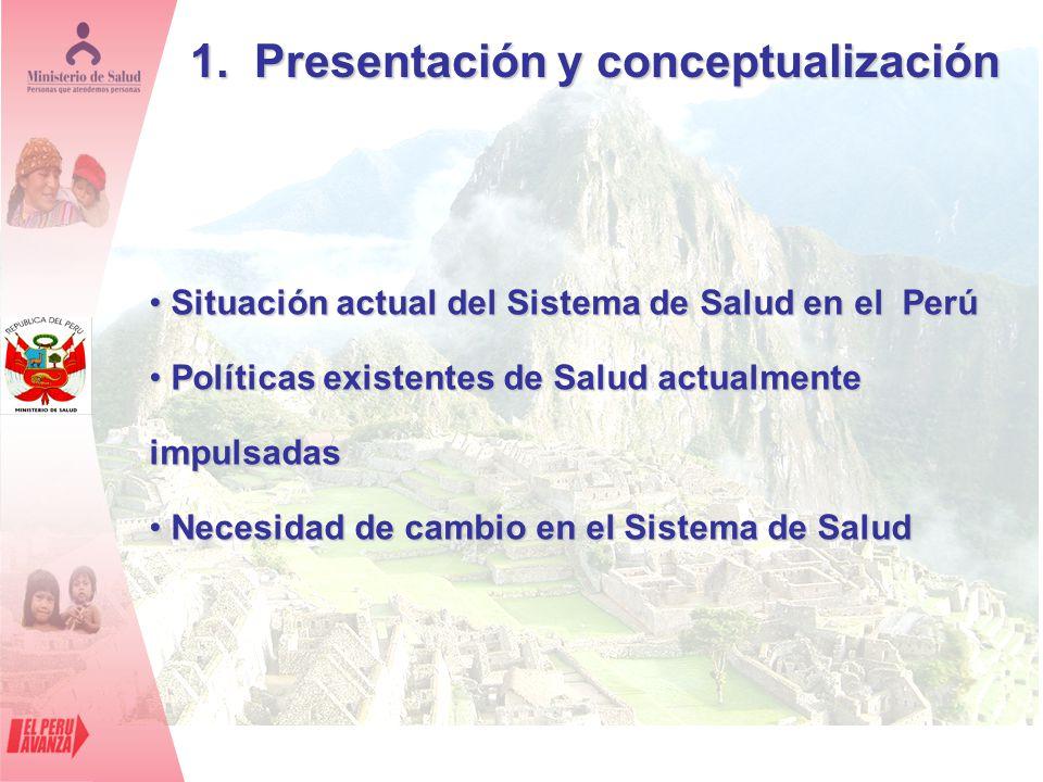 1. Presentación y conceptualización Situación actual del Sistema de Salud en el Perú Situación actual del Sistema de Salud en el Perú Políticas existe
