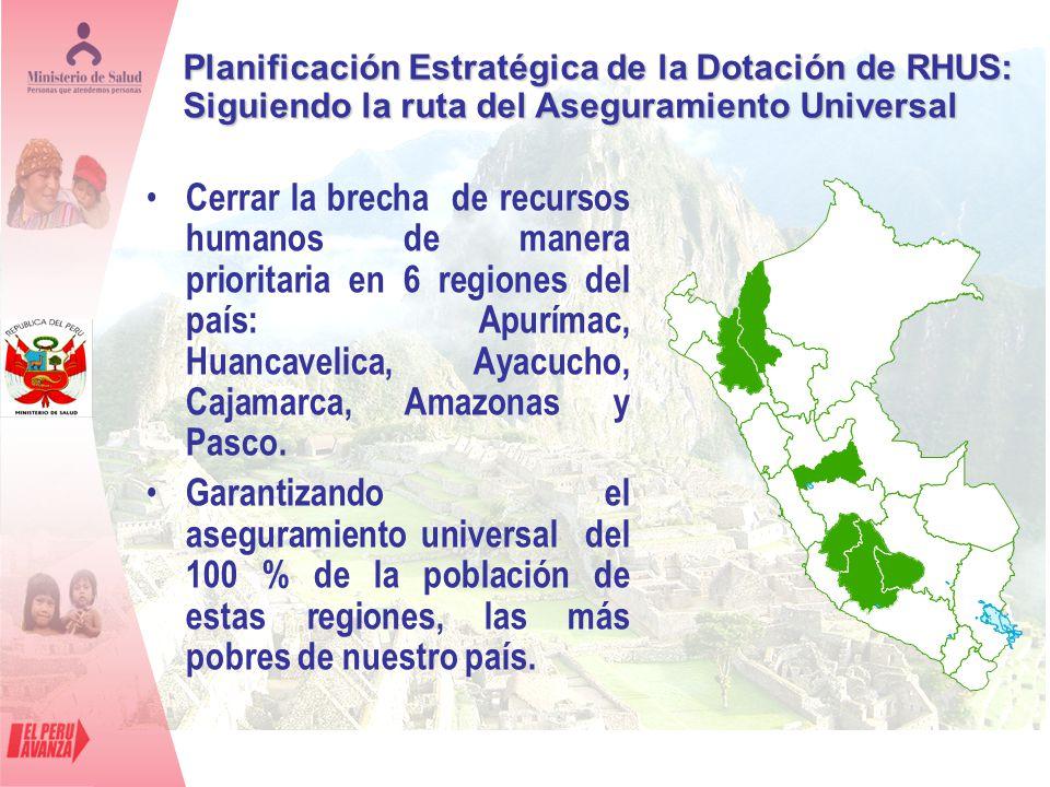 Cerrar la brecha de recursos humanos de manera prioritaria en 6 regiones del país: Apurímac, Huancavelica, Ayacucho, Cajamarca, Amazonas y Pasco. Gara