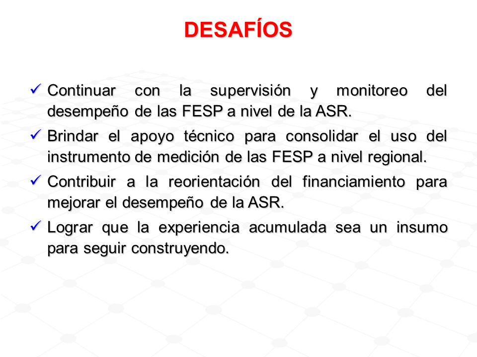 DESAFÍOS Continuar con la supervisión y monitoreo del desempeño de las FESP a nivel de la ASR. Continuar con la supervisión y monitoreo del desempeño